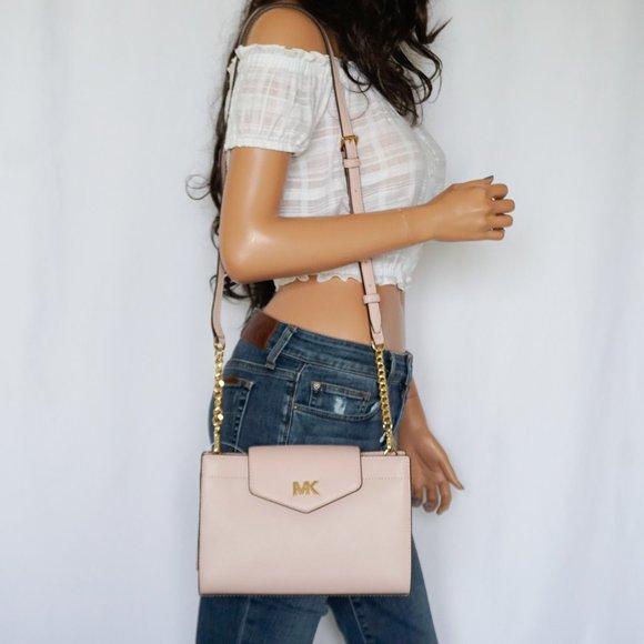 Michael Kors Mott L Xbody Leather Bag Pink Blossom